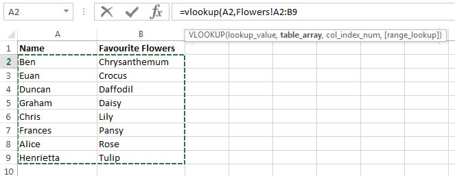 The table array element of the VLookup function demonstrated in an Excel 2013 VlookupTutorial