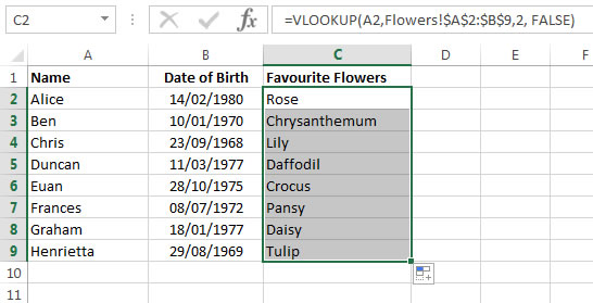 How to autofill all a column of VLookup functions using the drag-down tool
