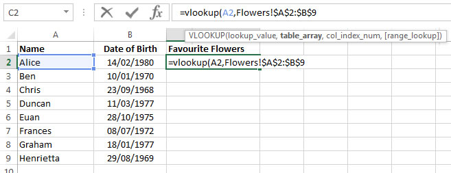 The Table Array in Excel 2013 VLookup tutorial
