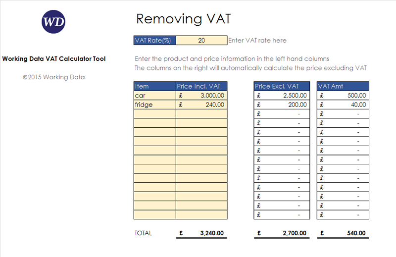 VAT Calculator Tool with data entered
