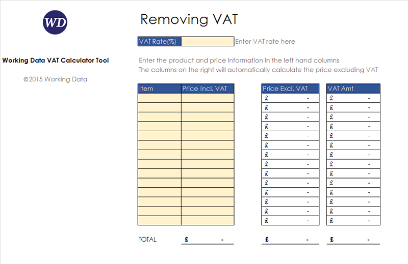 VAT Calculator Tool before data entry