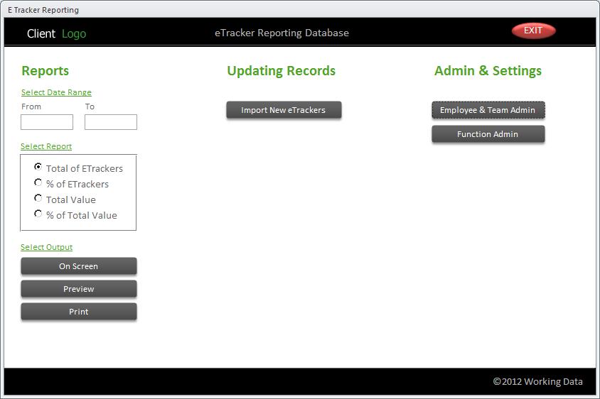Screenshot of a Microsoft Access custom dashboard