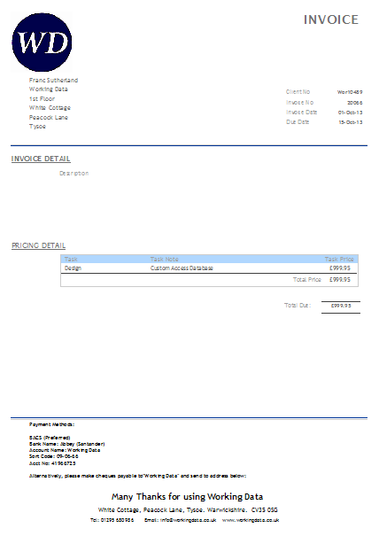 MS Access Custom Invoice screenshot