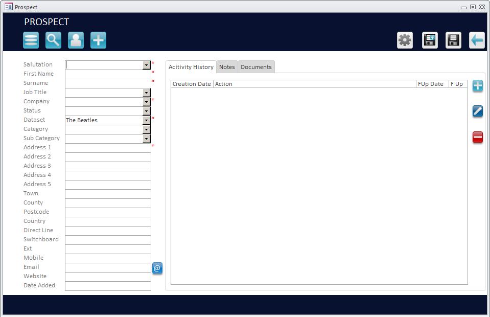 Microsoft Access Customer Entry Screenshot