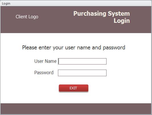 MS Access Purchasing Login Form screenshot