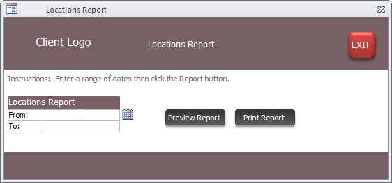 Report Criteria Form screenshot