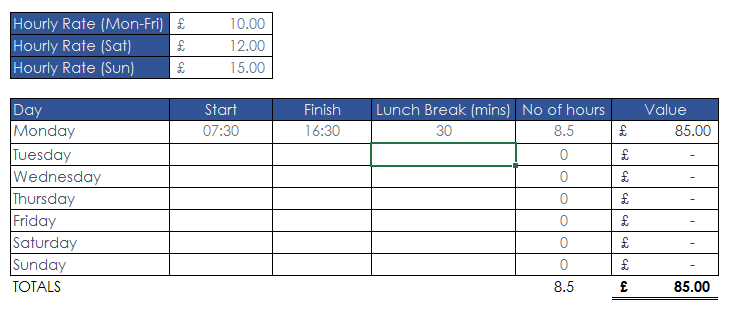 New improved Excel 2013 timesheet tool