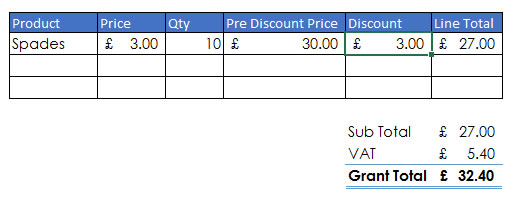 simple discount applied to sales line