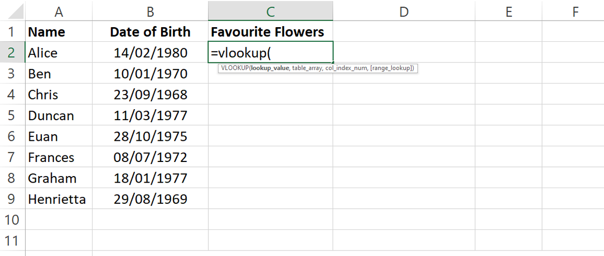 How to use Excel VLookup