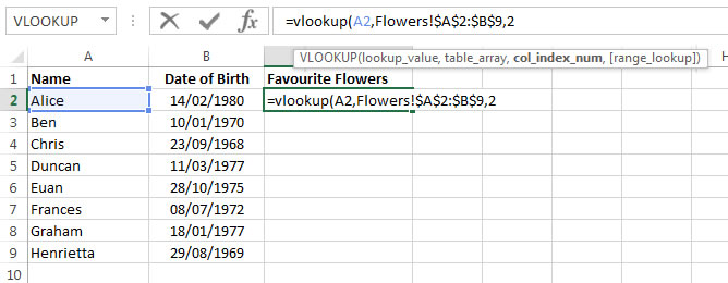 Excel 2013 demonstration of The Col Index Num element of the VLookup function