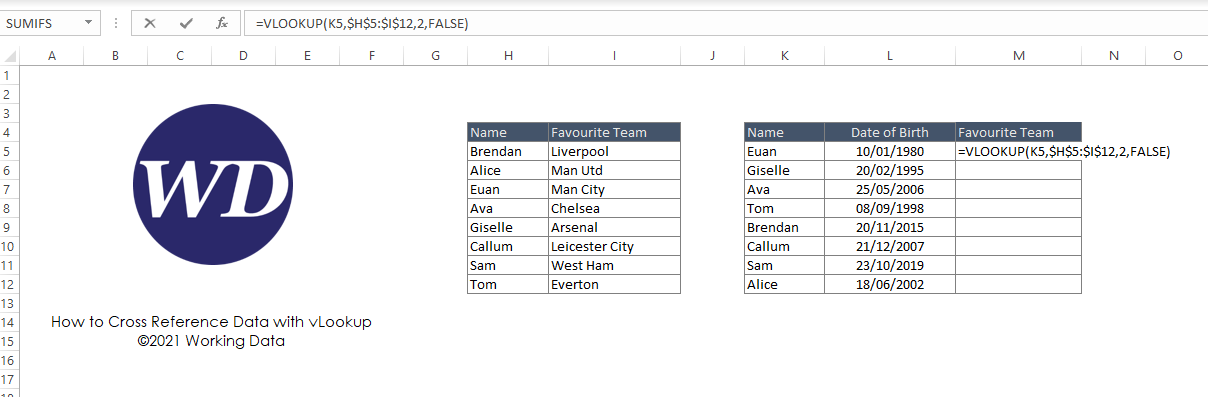 Using the vLookup Excel function to cross reference two lists of data
