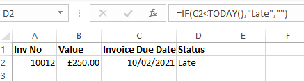 Status column in an Excel Spreadsheet showing late invoice payment