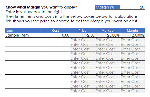 Applying Margin to a Cost
