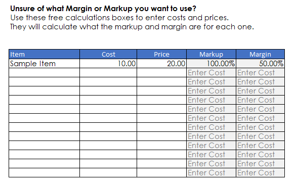 Calculating Markup and Margin from Cost and Price