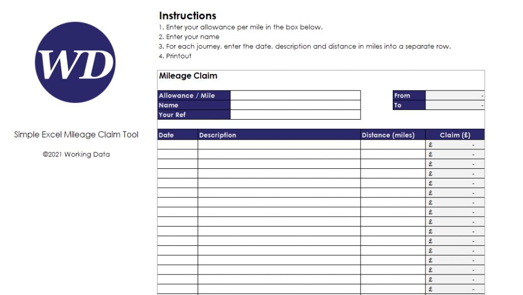 Simple Excel Mileage Claim Tool