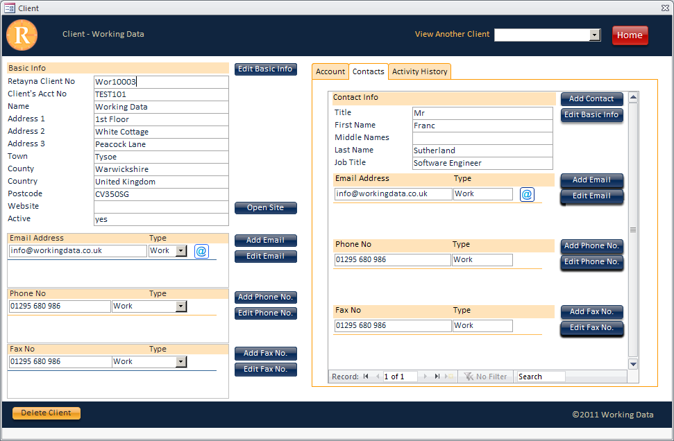 Screenshot of a custom client data entry form