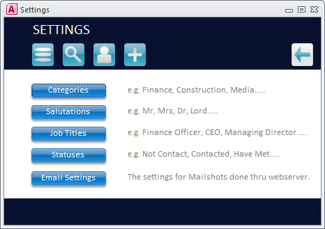 Master Settings Form Screenshot