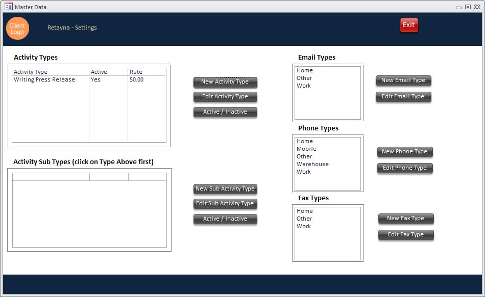 Screenshot of Database Settings in a custom Access database