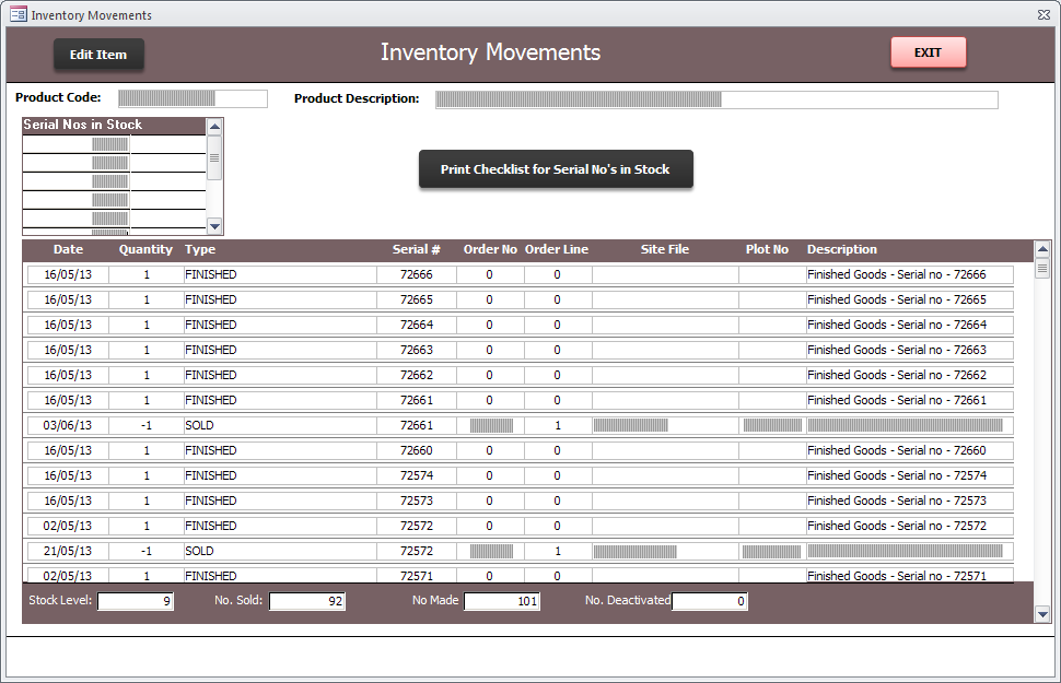 Screenshot of Access database inventory movement