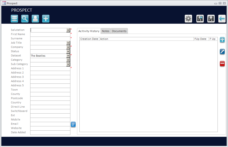 Microsoft Access Customer Entry Screenshot