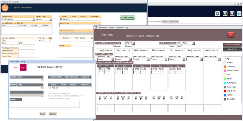 Screenshot of custom Microsoft Access forms