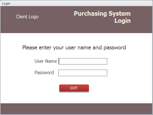 MS Access Purchasing Login Form screenshot