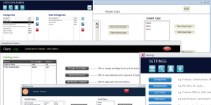 Screenshot of sample settings forms from Microsoft Access custom databases