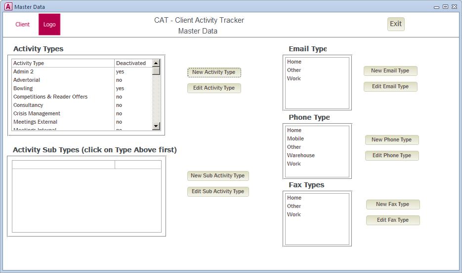 Sample Settings form screenshot