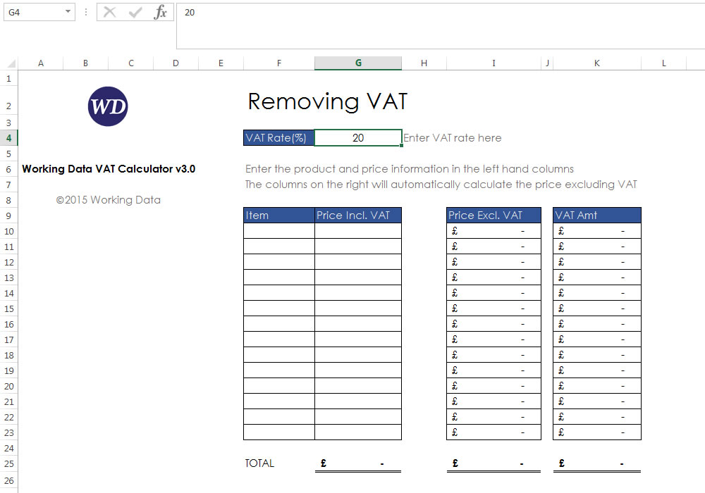 Where to enter the VAT rate in Working Data's VAT Calculator version 3 in Excel 2013