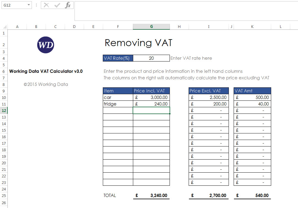 Removing VAT with the Excel 2013 VAT Calculator from Working Data