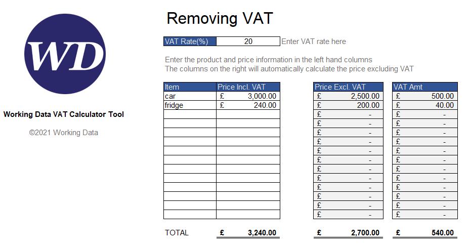 Remove VAT